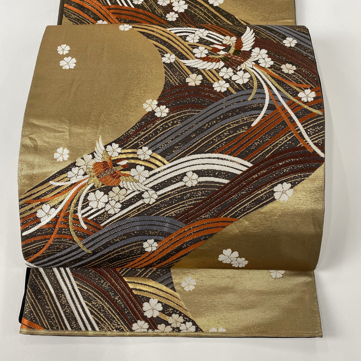 袋帯 美品 秀品 鳳凰 波 箔 金色 六通 正絹 【中古】