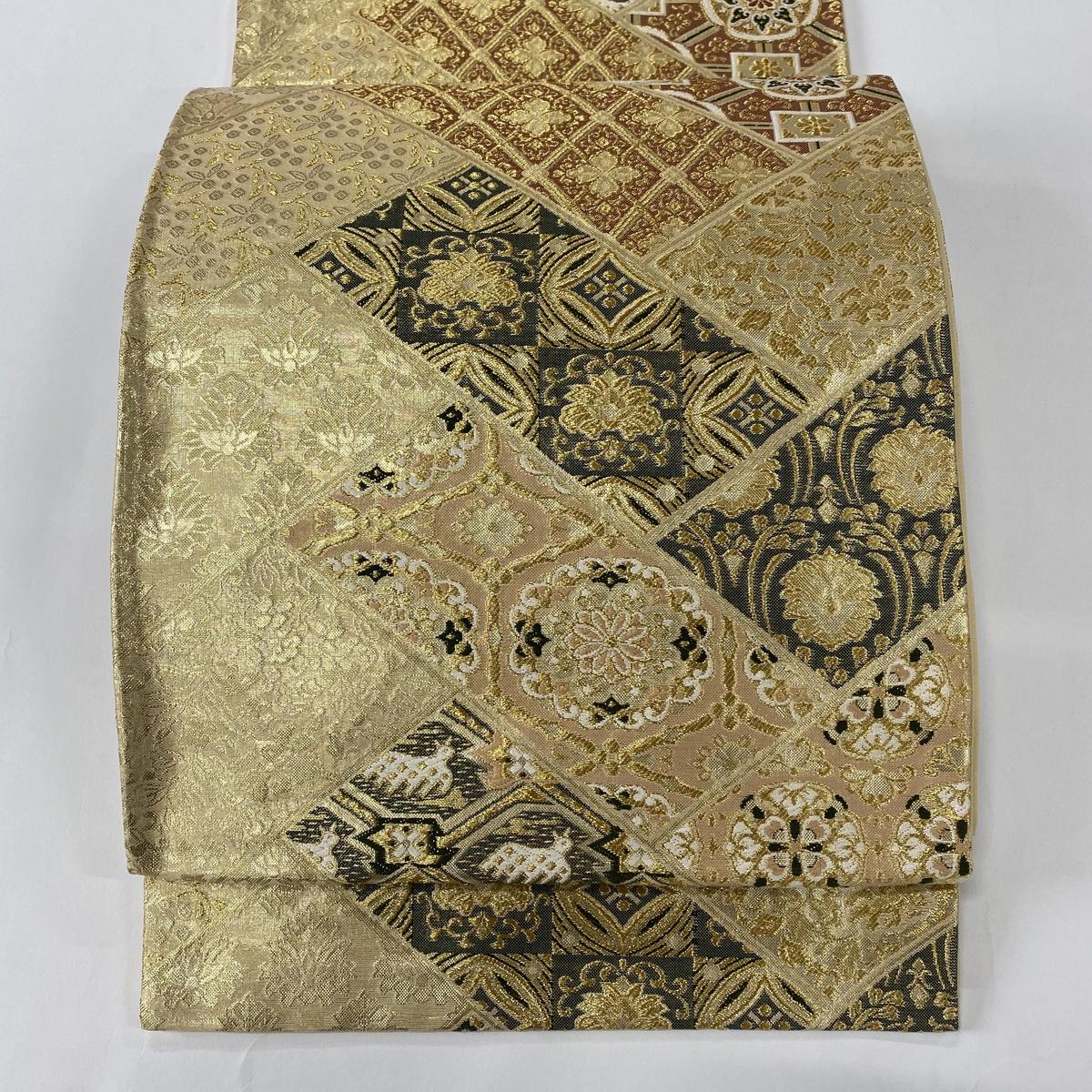 袋帯 美品 秀品 華文 遠州緞子 金糸 箔 金色 六通 正絹 【中古】