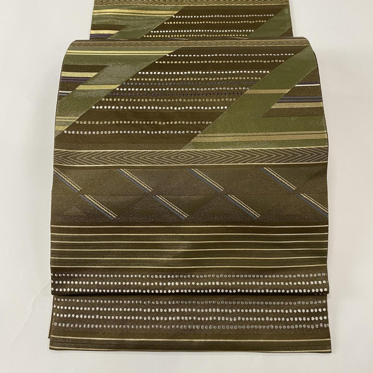袋帯 美品 名品 幾何学模様 縞 箔 金糸 茶緑色 六通 正絹 【中古】