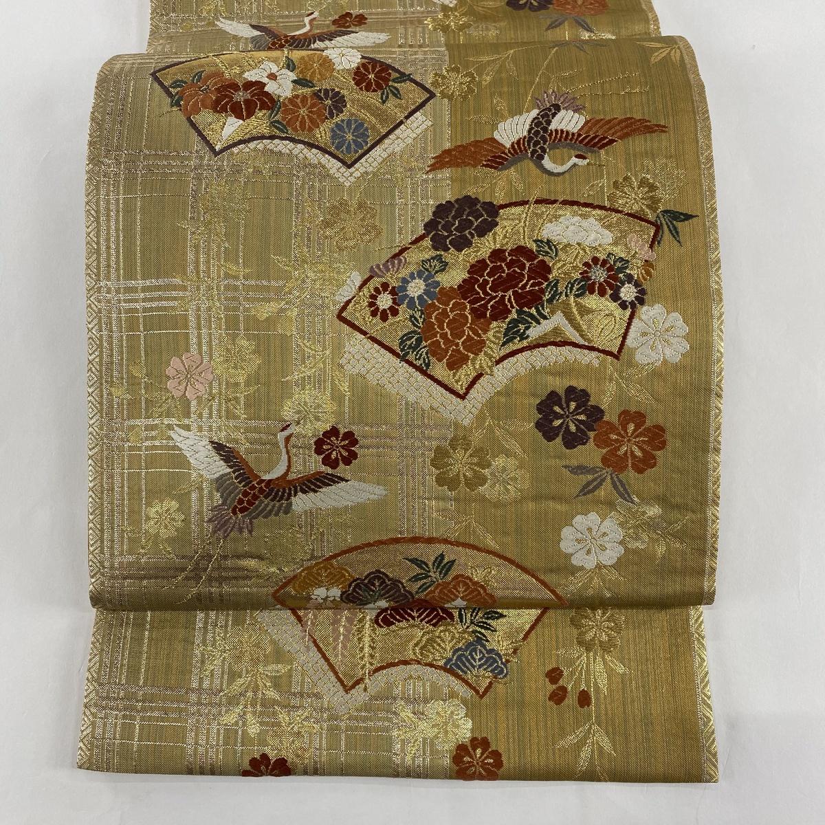 袋帯 美品 秀品 扇面 鶴 金糸 箔 茶緑色 六通 正絹 【中古】
