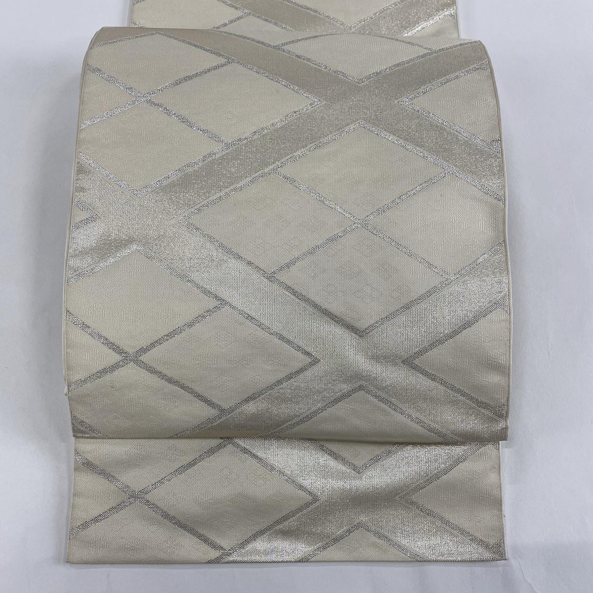 袋帯 美品 秀品 菱 地紋 銀糸 箔 灰白 全通 正絹 【中古】
