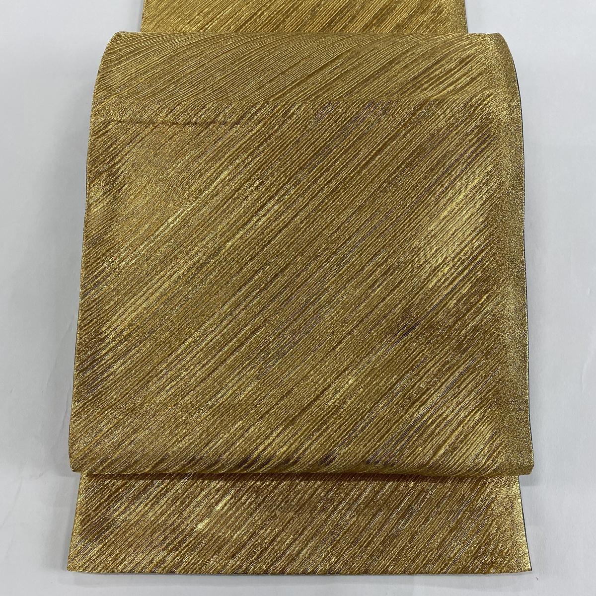 袋帯 美品 秀品 振袖向き 斜縞 金糸 箔 金色 全通 正絹 【中古】