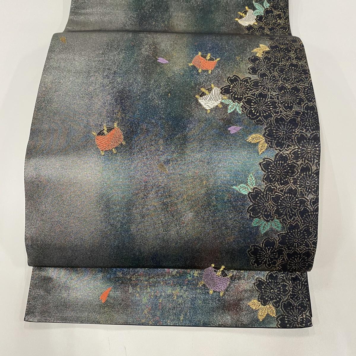 袋帯 美品 秀品 本金鋳箔 引箔袋 桜 糸巻き 金糸 刺繍 灰緑 六通 正絹 【中古】