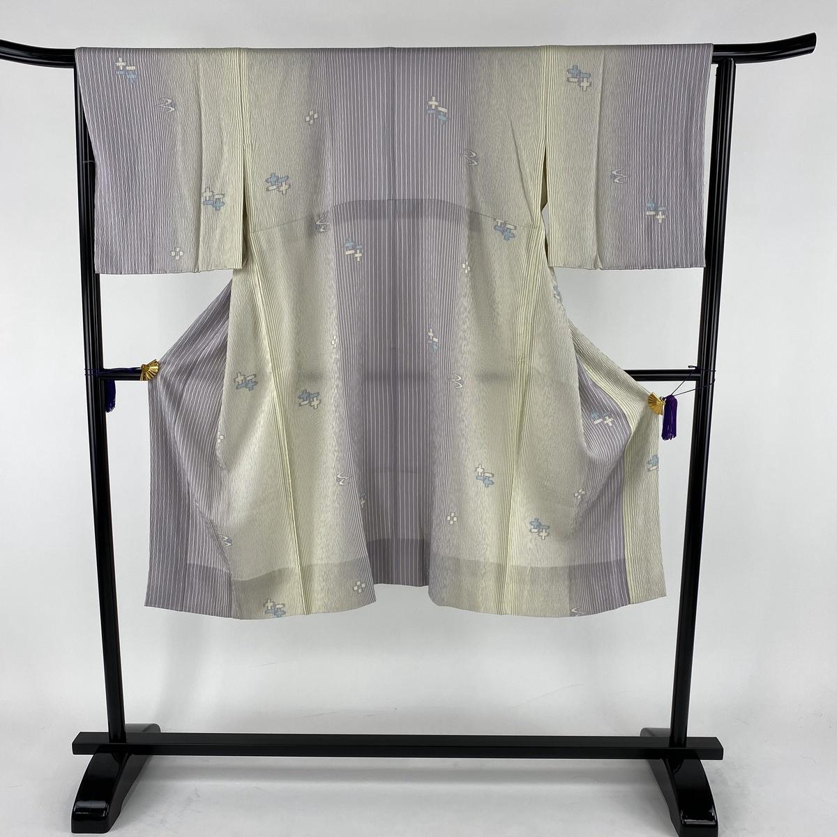 長襦袢 美品 秀品 やまと 縦縞模様 絣柄 ぼかし 薄紫 身丈121cm 裄丈65cm M 正絹 【中古】