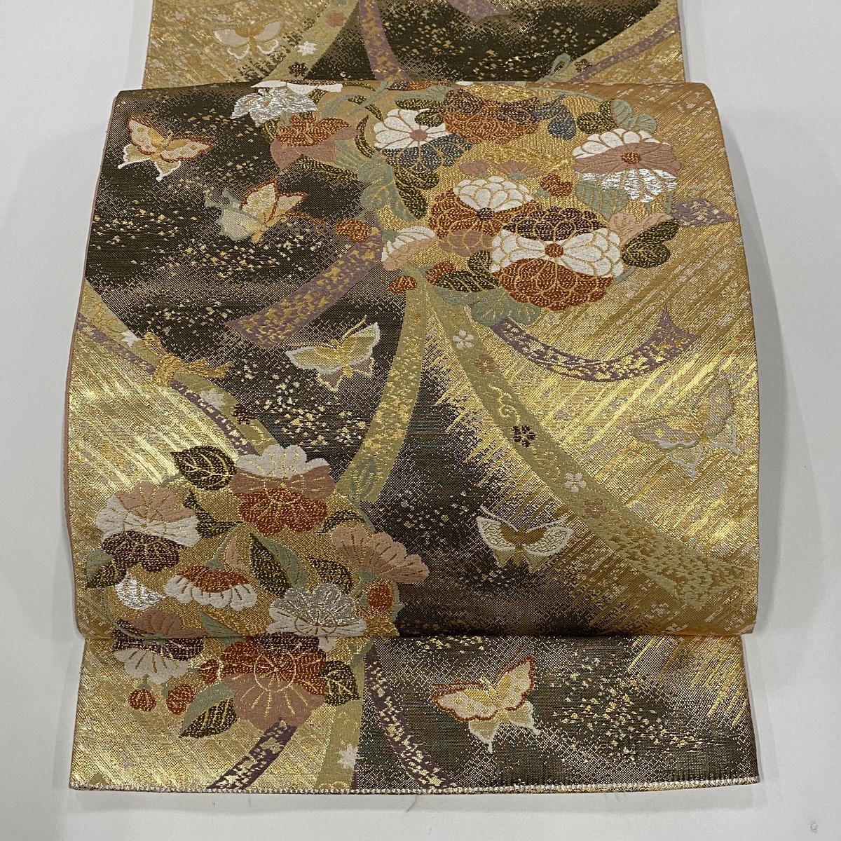袋帯 美品 秀品 束ね熨斗 花丸文 金銀糸 箔 金色 六通 正絹 【中古】