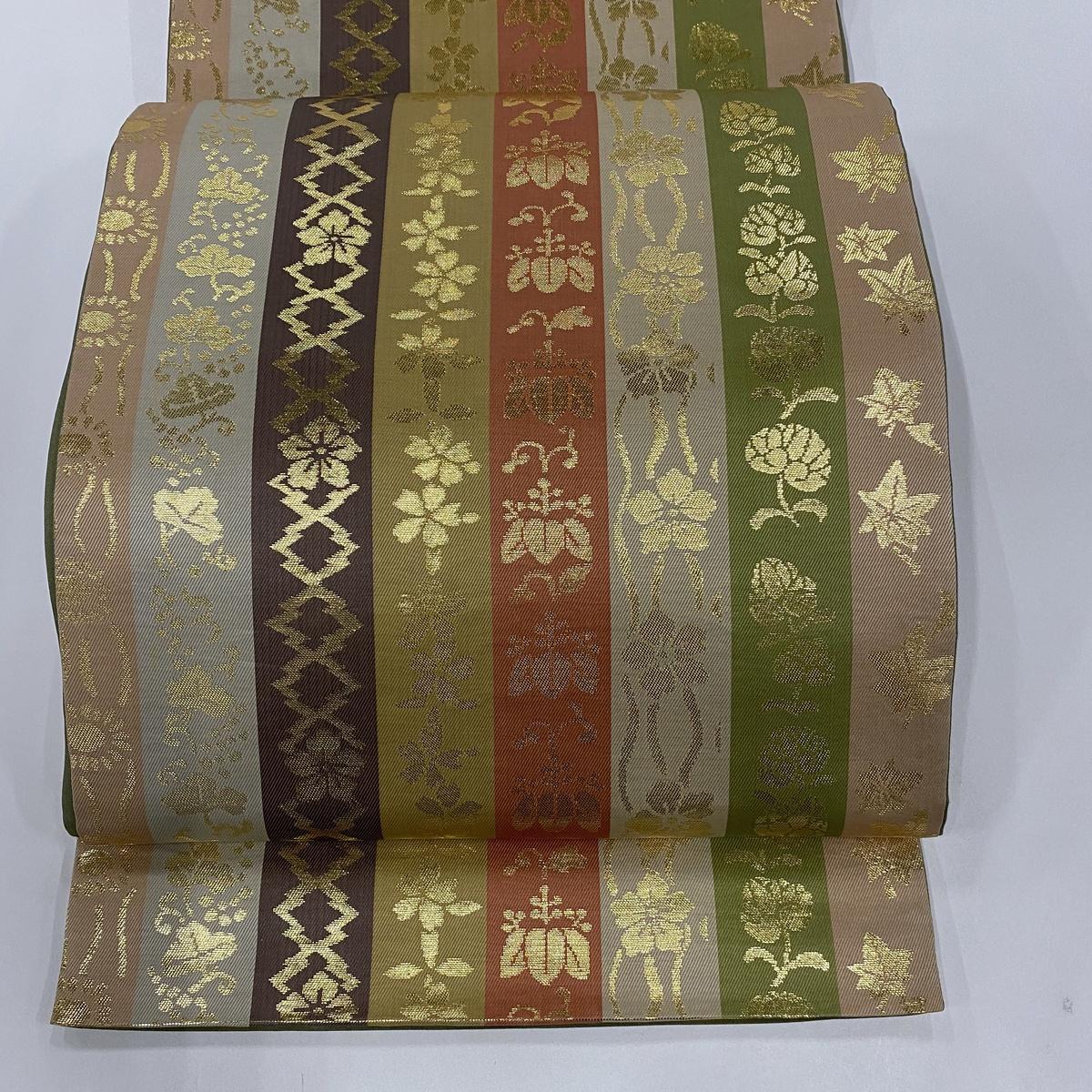 袋帯 美品 秀品 かづら帯縞文 桐 縞 箔 ベージュ 六通 正絹 【中古】