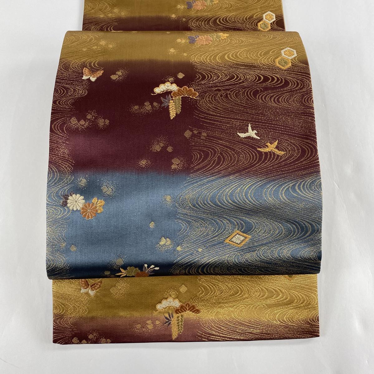 袋帯 美品 秀品 波 段縞 金糸 箔 赤紫 六通 正絹 【中古】