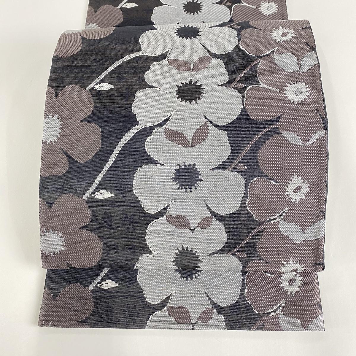 袋帯 美品 逸品 証紙あり 花柄 灰紫 六通 正絹 【中古】