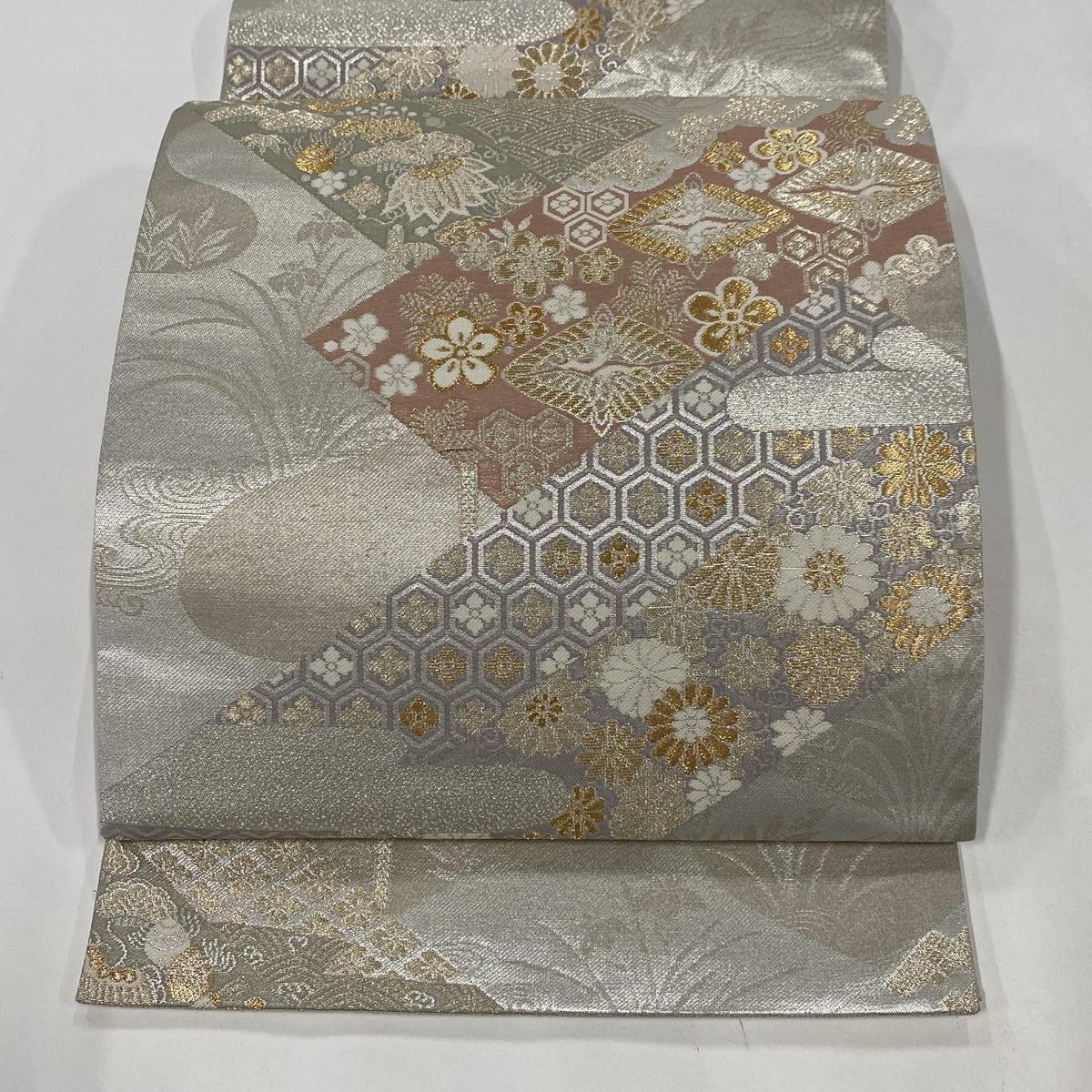 袋帯 美品 秀品 梅 鶴菱 金銀糸 箔 銀色 六通 正絹 【中古】
