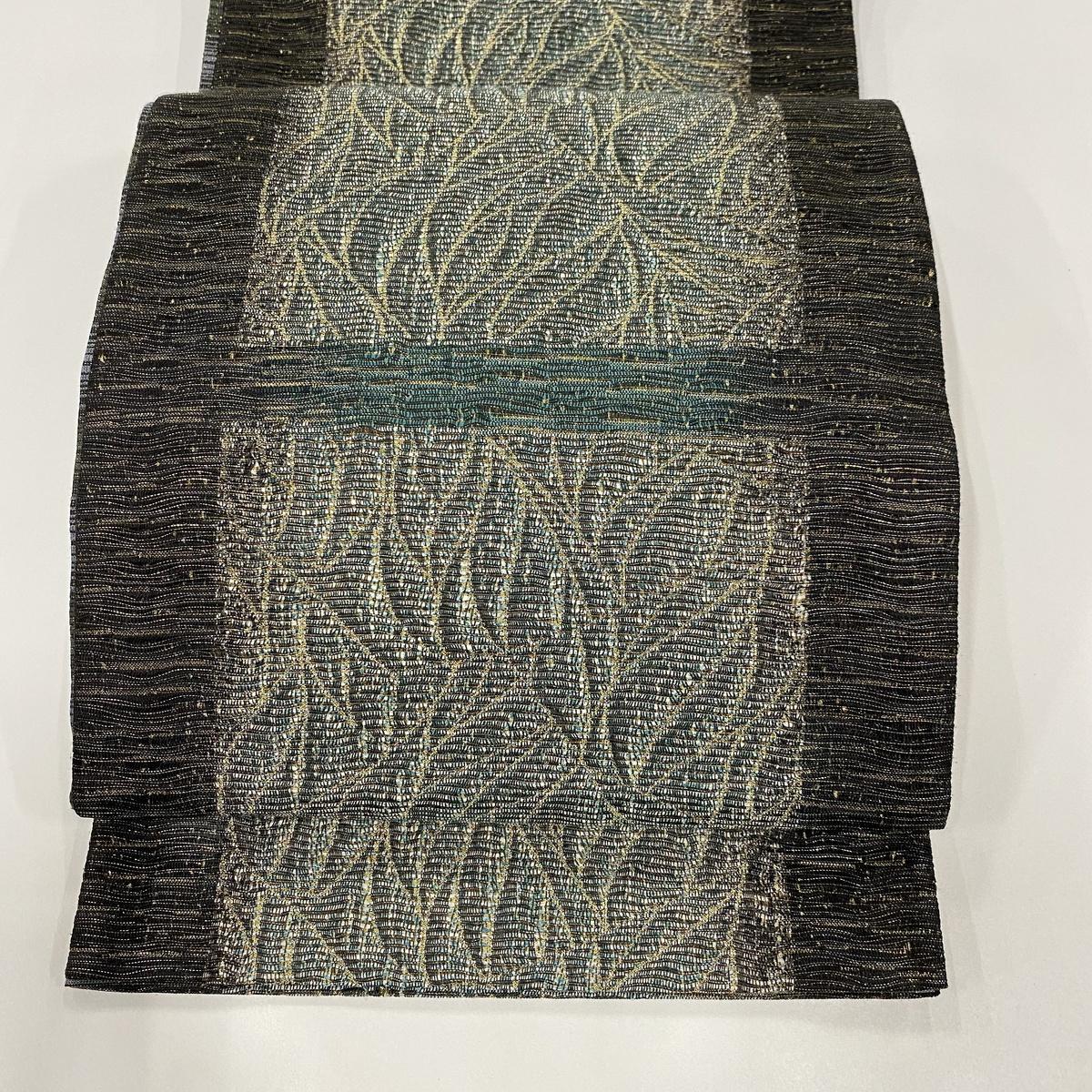 袋帯 美品 秀品 やまと誂製 葉柄 金糸 深緑 全通 正絹 【中古】
