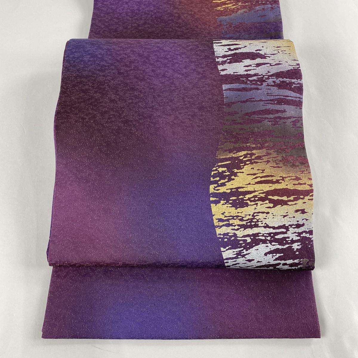 袋帯 美品 名品 幾何学 金通し 金彩 紫 お太鼓柄 正絹 【中古】
