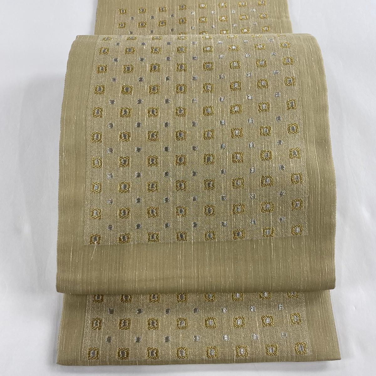 袋帯 美品 名品 幾何学模様 金銀糸 抹茶色 六通 正絹 【中古】