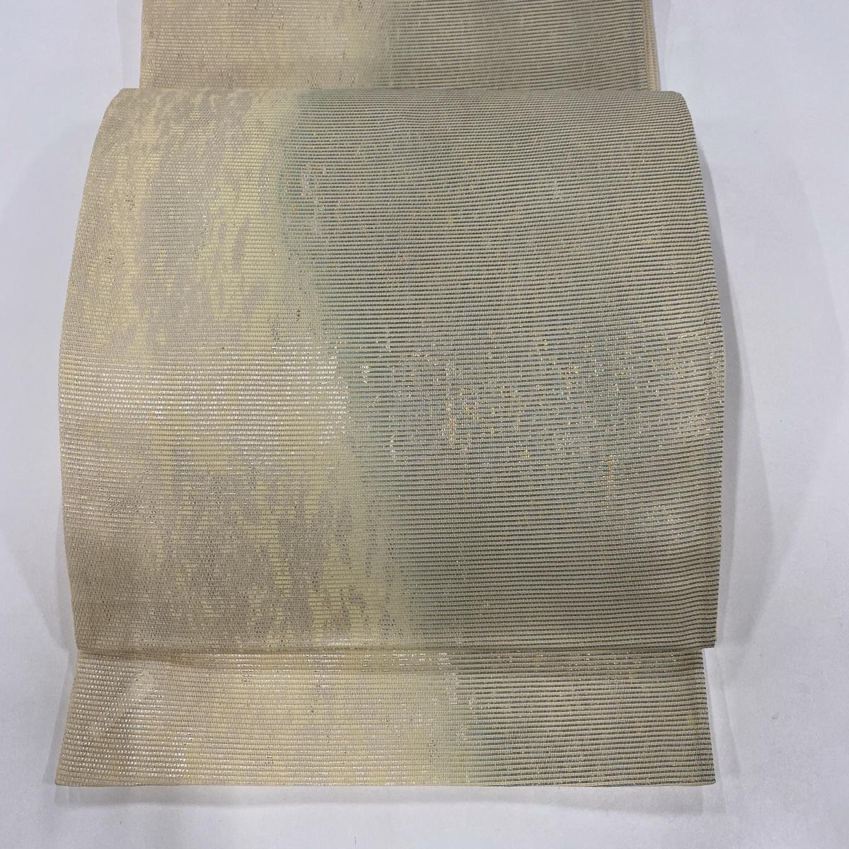 袋帯 美品 秀品 絽 夏帯 幾何学 箔 クリーム 六通 正絹 【中古】