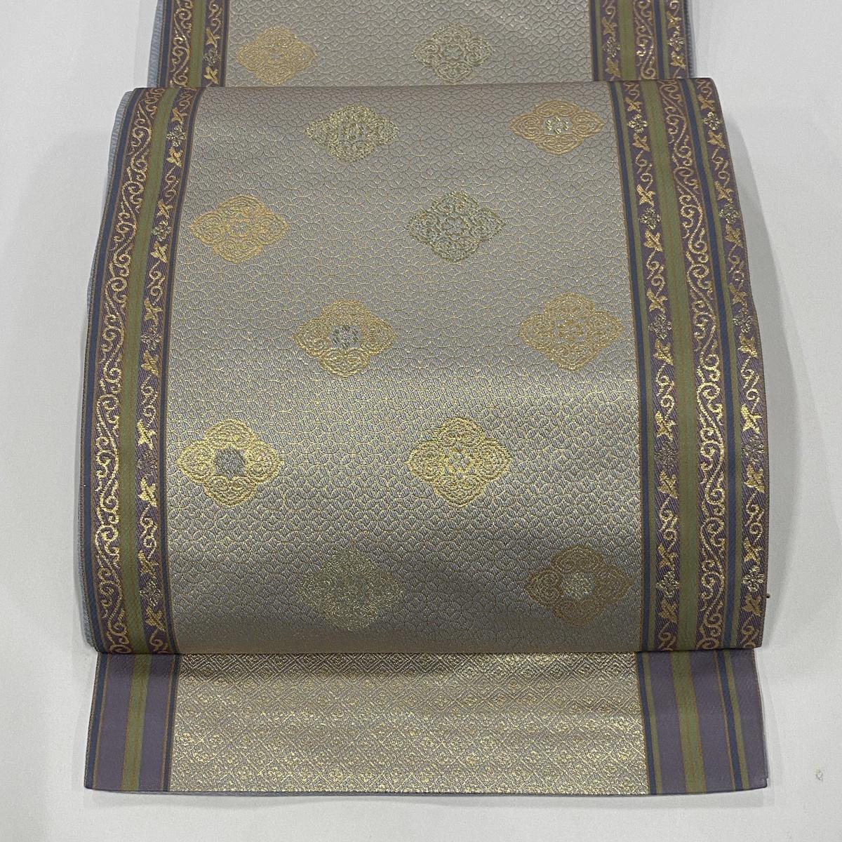 袋帯 美品 秀品 花菱 縞 金糸 箔 薄紫 全通 正絹 【中古】