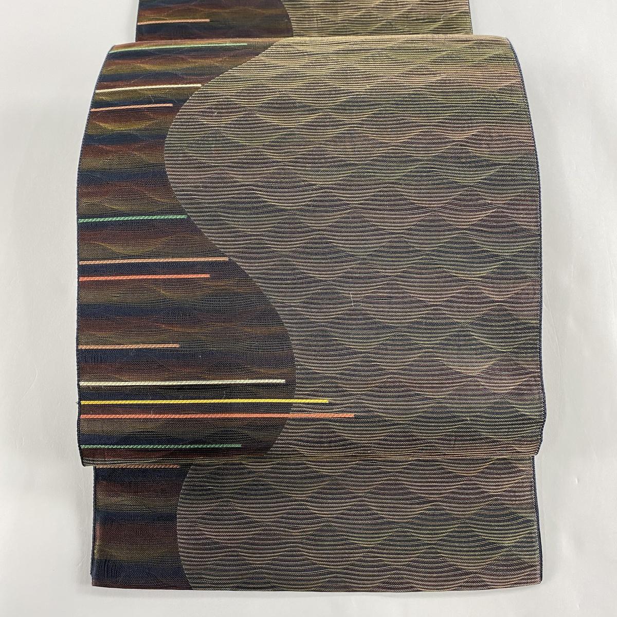 袋帯 美品 秀品 幾何学 刺繍 茶緑色 お太鼓柄 正絹 【中古】