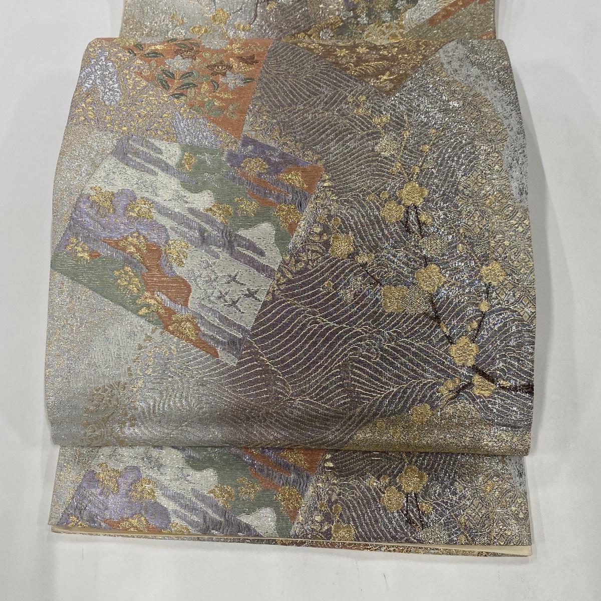 袋帯 美品 秀品 有職色紙重波文 枝梅 菊 金糸 箔 銀色 六通 正絹 【中古】