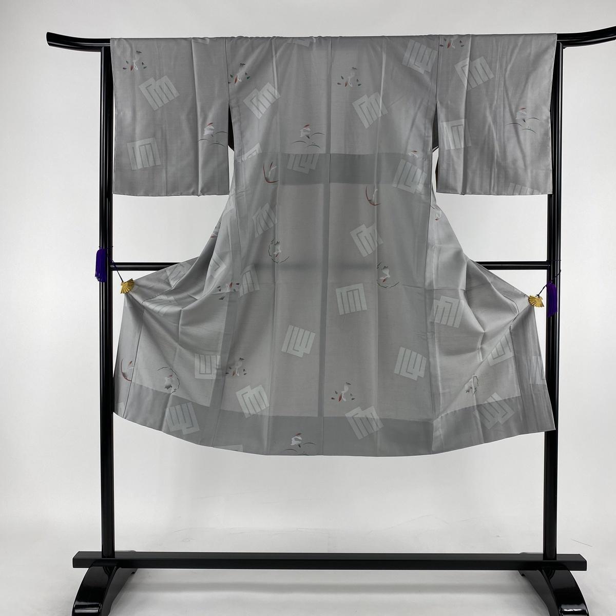 長襦袢 美品 秀品 やまと 源氏香 兎 灰色 身丈128.5cm 裄丈64cm M 正絹 【中古】