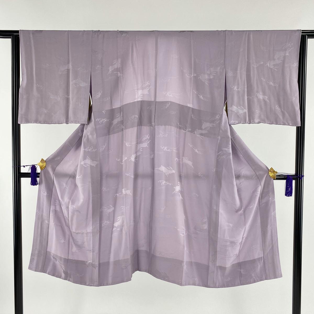 長襦袢 美品 秀品 やまと うさぎ 波頭 紫 身丈117cm 裄丈67cm M 正絹 【中古】