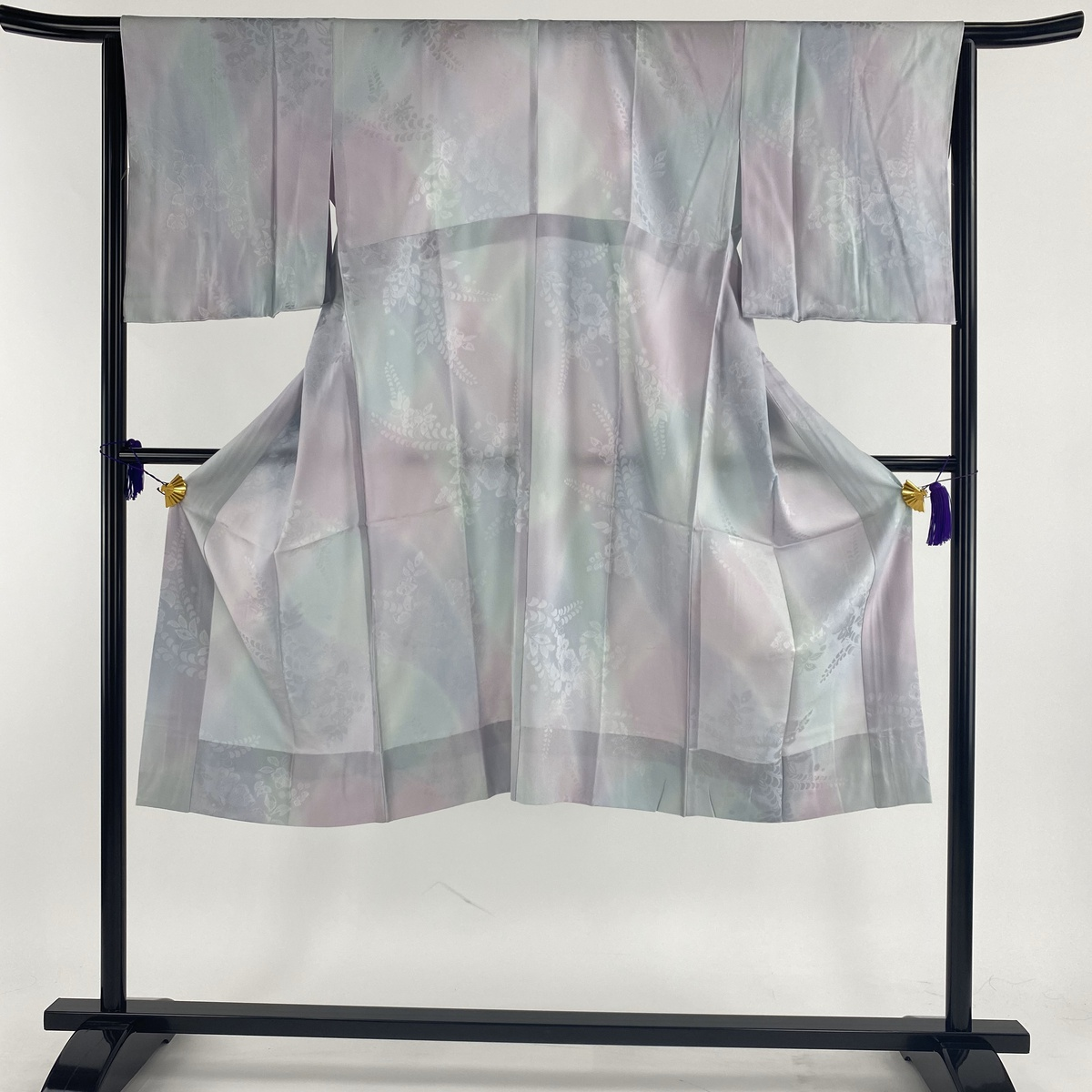 長襦袢 美品 秀品 やまと 地紋 ぼかし 薄紫 身丈127cm 裄丈65cm M 正絹 【中古】