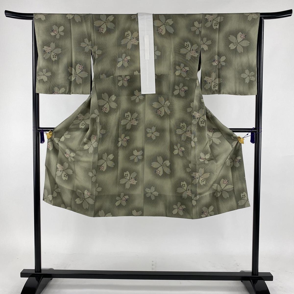 長襦袢 美品 秀品 縞 桜 灰緑 身丈121cm 裄丈64.5cm M 正絹 【中古】
