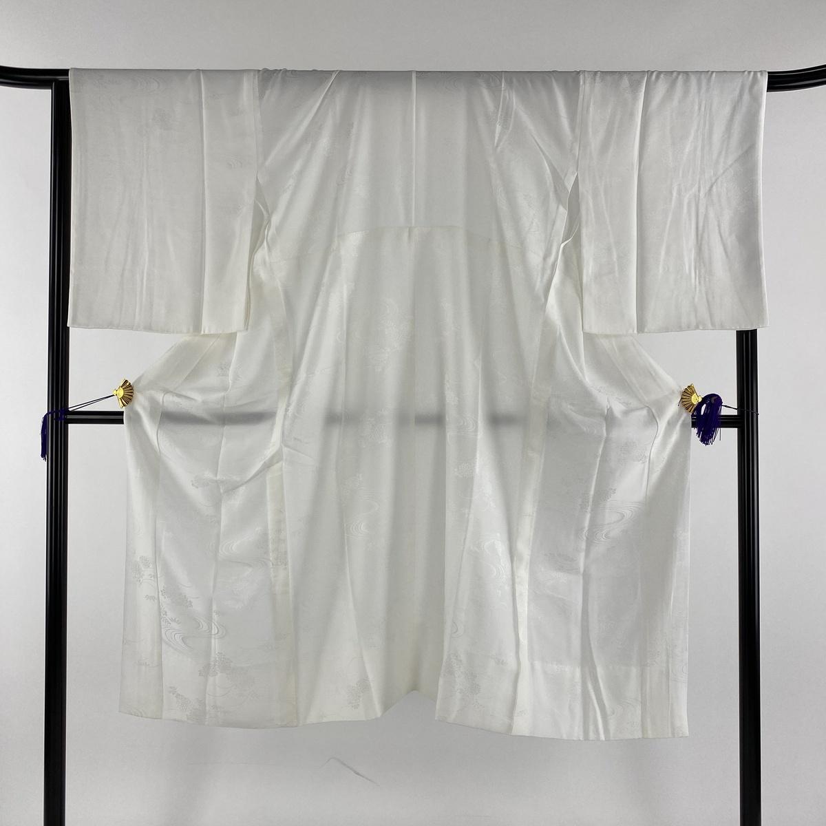 長襦袢 美品 秀品 やまと 地紋 白 身丈130cm 裄丈63cm S 正絹 【中古】