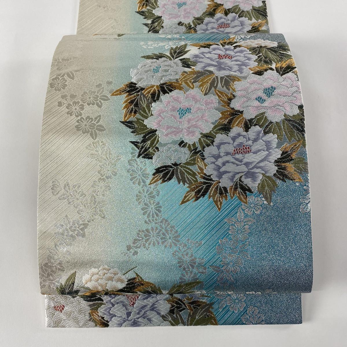 袋帯 美品 秀品 牡丹 草花 唐織 箔 青緑 六通 正絹 :バイセルオンライン 店