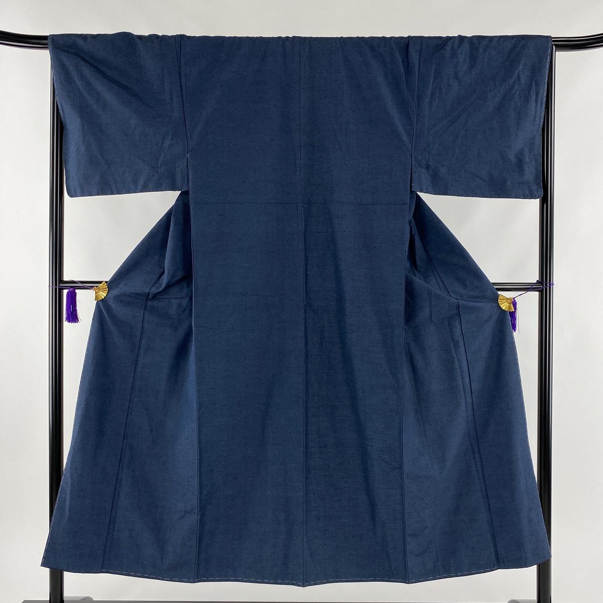 男着物 美品 秀品 藍色 袷 身丈146cm 裄丈68cm S 正絹 【中古】
