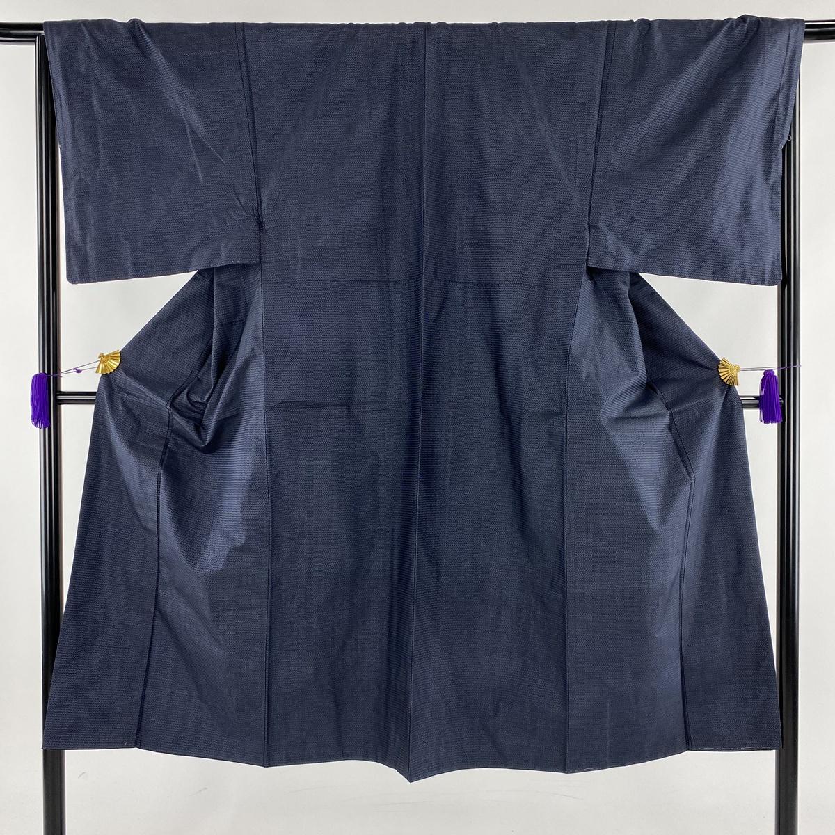 男着物 美品 秀品 アンサンブル 亀甲絣 紺色 袷 身丈137.5cm 裄丈67cm S 正絹 【中古】