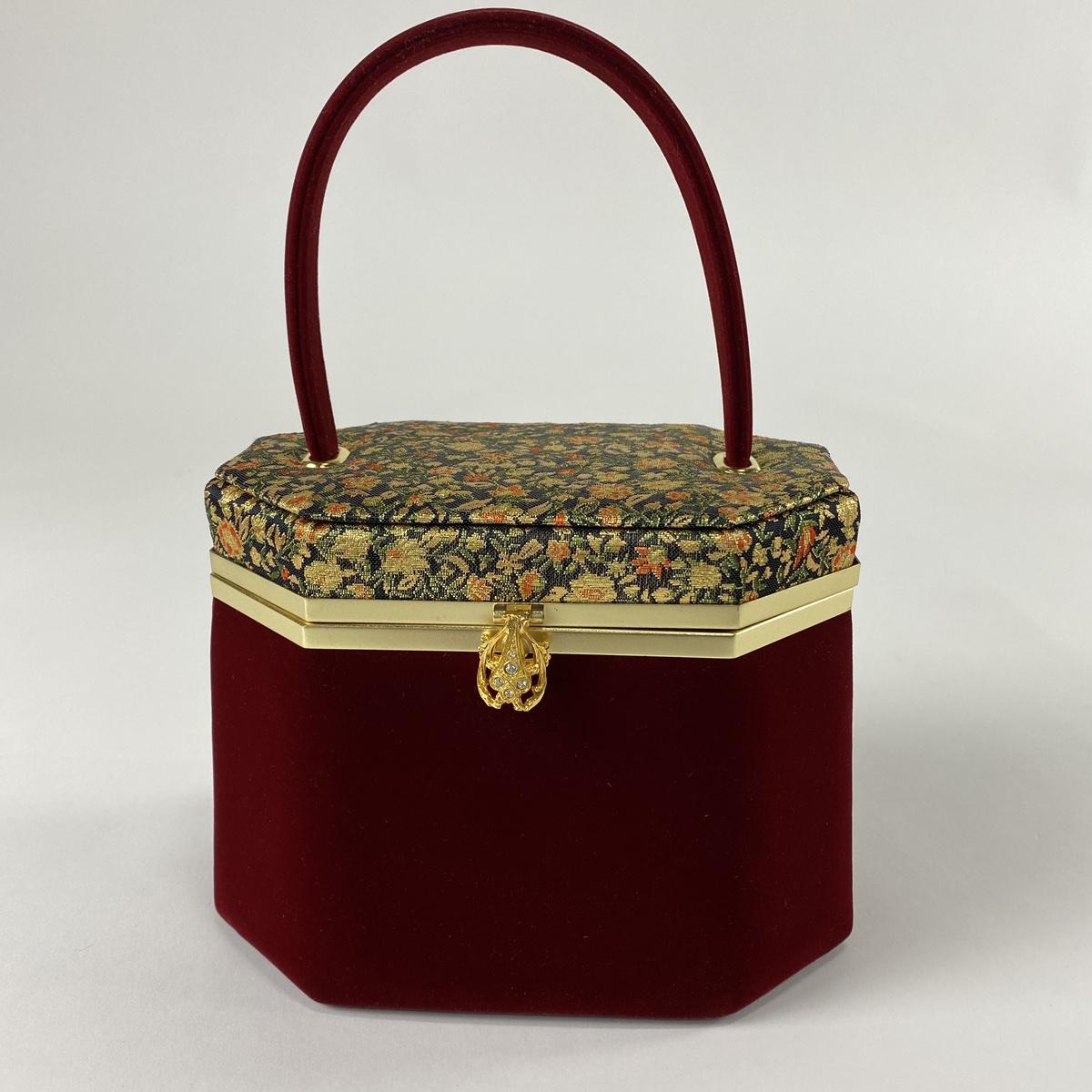 人気ブランドを 和装バッグ 美品 優品 草花 赤 ベロア 和装小物, 超人気 e4cda6b0