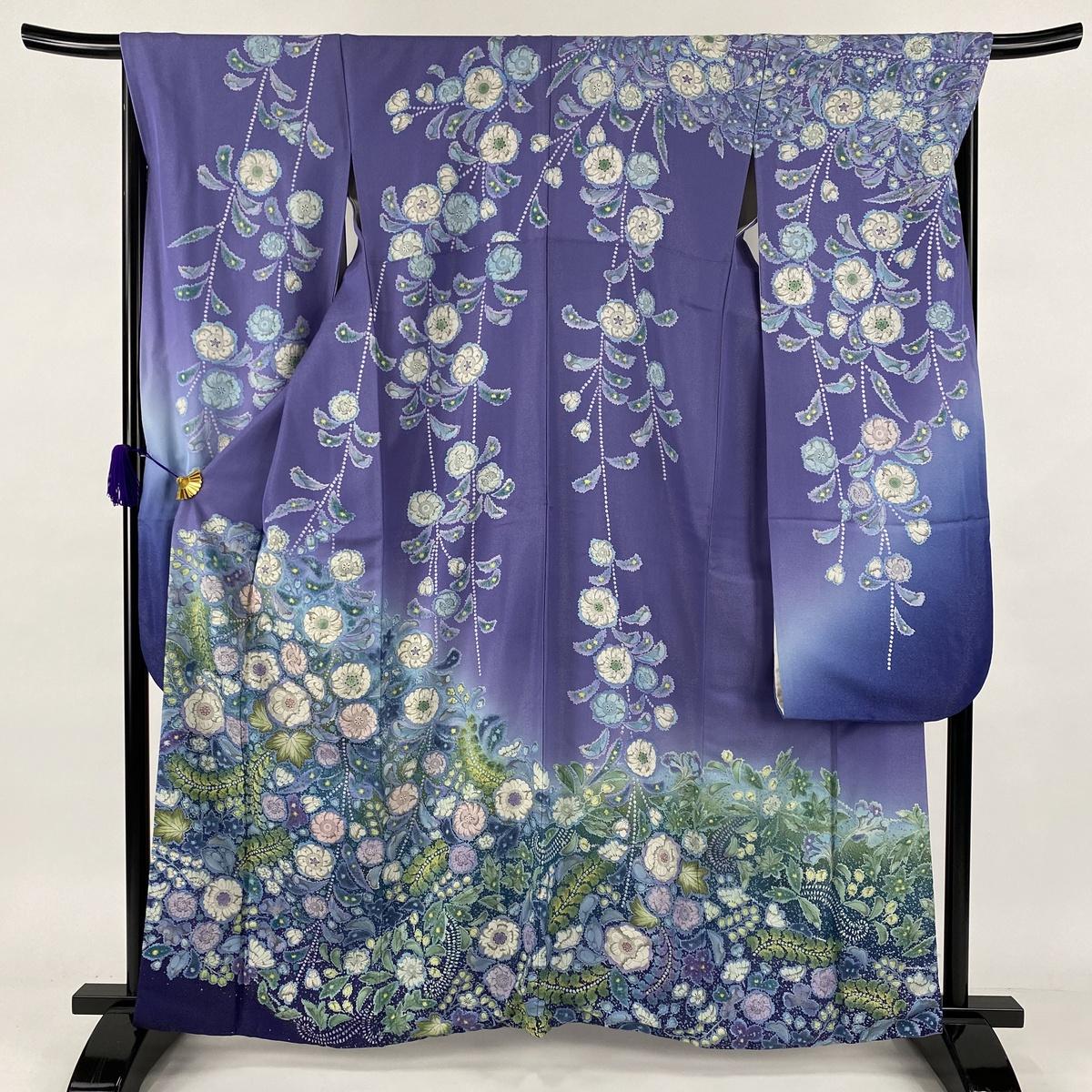 新しい 振袖 美品 名品 辻が花柄 銀通し 染め分け 紫 袷 身丈164.5cm 裄丈69cm L 正絹, 暮らしのソムリエSHOP! ce7b8fde