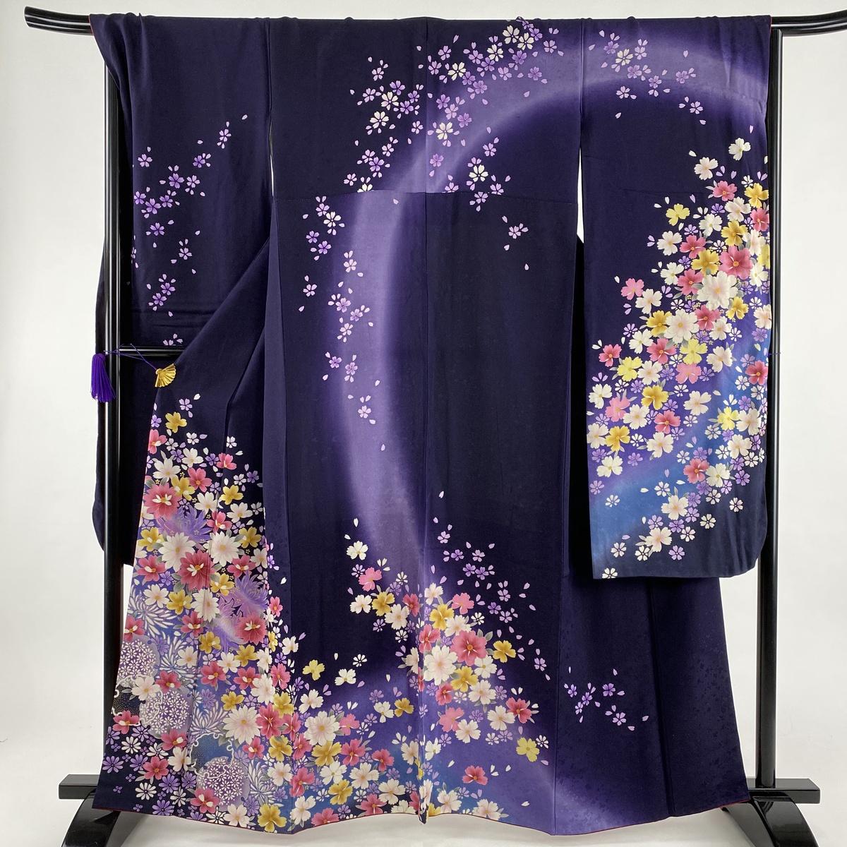 激安 振袖 逸品 雪輪 草花 銀通 濃紫 袷 身丈161cm 裄丈69cm L 正絹, 九州トータルプランニング b6b494de