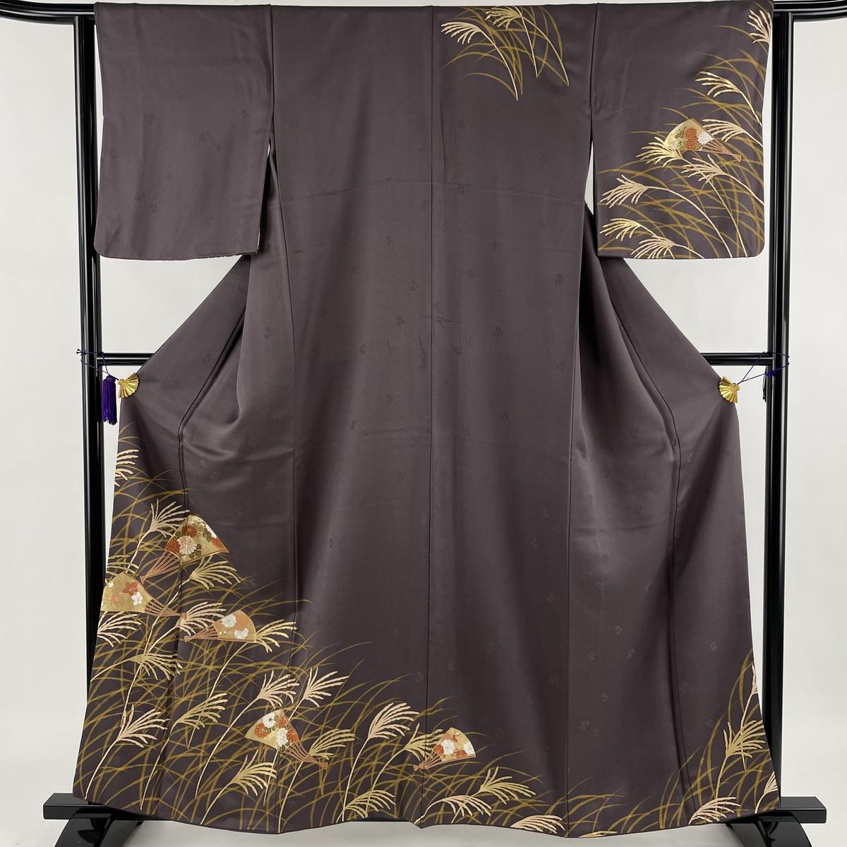 ランクA 着物 リサイクル 送料無料 新色 訪問着 美品 秀品 すすき 扇 63cm 正絹 金彩 中古 S 紫 金糸 158.5cm 売り込み 袷