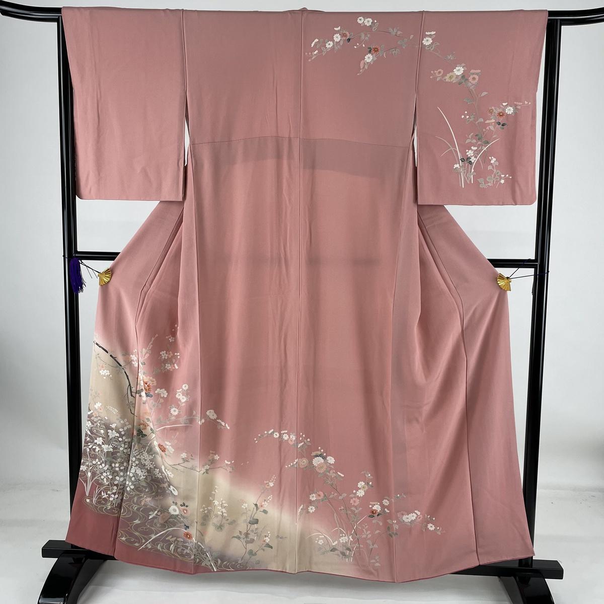 ランクA 着物 超人気 リサイクル 送料無料 訪問着 美品 秀品 草花 流水 金銀彩 M 160cm ピンク 中古 2020新作 64cm ぼかし 袷 正絹