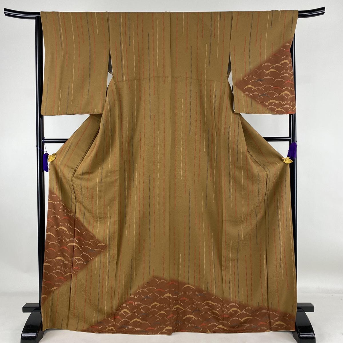 大好評です ランクA ラッピング無料 着物 リサイクル 送料無料 訪問着 美品 秀品 芝 縞 170cm 染め分け 正絹 茶色 M 金彩 中古 袷 65.5cm
