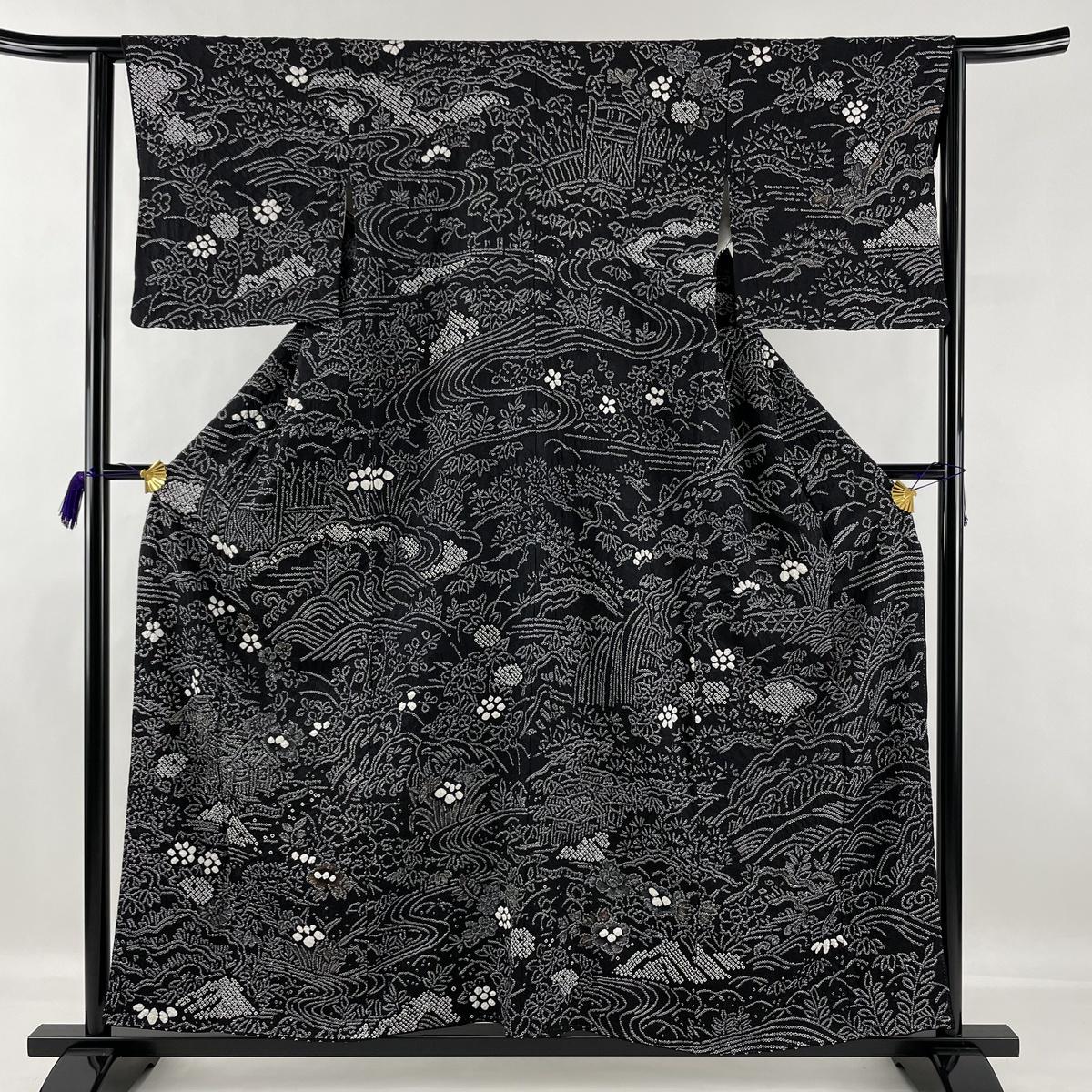 ランクA 着物 リサイクル 送料無料 通常便なら送料無料 訪問着 美品 秀品 家屋 草花 中古 絞り 金彩 S 63cm 袷 156cm 黒 正絹 送料無料限定セール中