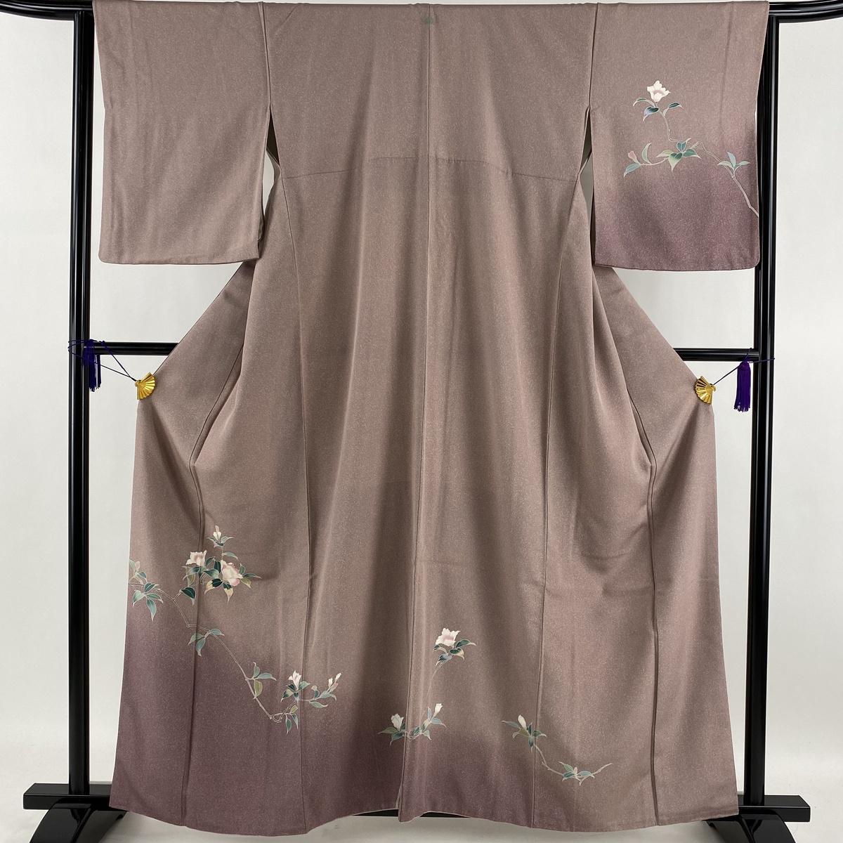 ランクS 着物 リサイクル 送料無料 訪問着 美品 爆売りセール開催中 秀品 一つ紋 枝花 薄紫 正絹 超特価SALE開催 裄丈64cm 中古 身丈160cm 裾ぼかし 袷 M