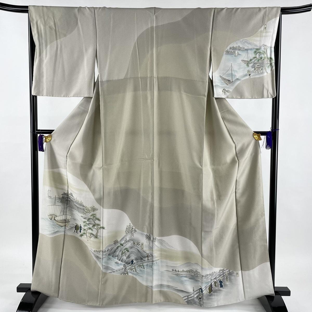 ランクS 着物 リサイクル 送料無料 訪問着 美品 秀品 風景 爆買い新作 袷 M 灰茶 人物 引き出物 中古 身丈164cm 正絹 裄丈66.5cm