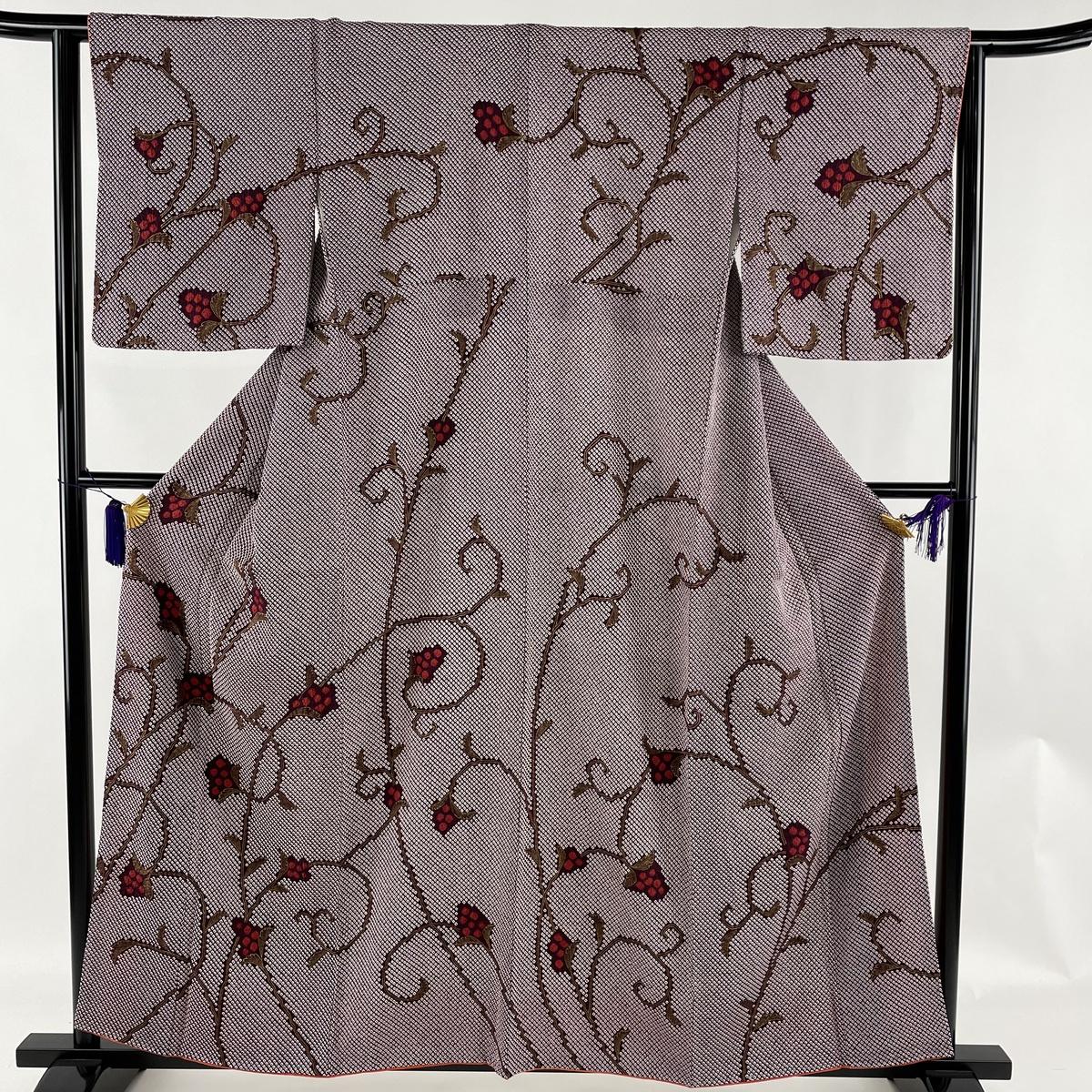 ランクA 入手困難 激安通販販売 着物 リサイクル 送料無料 訪問着 美品 秀品 葉と実 総絞り 紫 中古 158.5cm 袷 金彩 63cm S 正絹