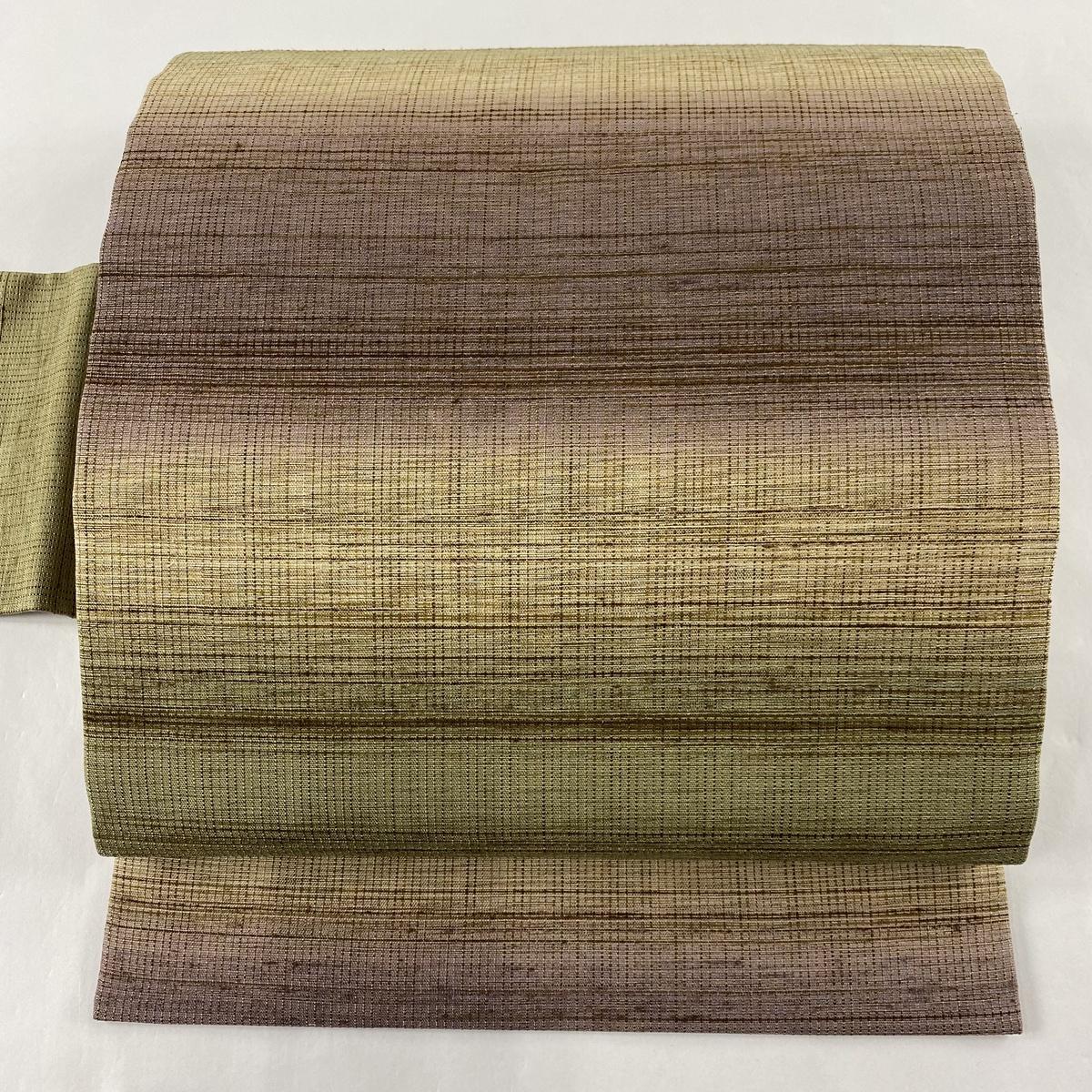 ランクA 帯 リサイクル 送料無料 名古屋帯 美品 金糸 40%OFFの激安セール 中古 茶緑色 低価格 逸品 縞 正絹