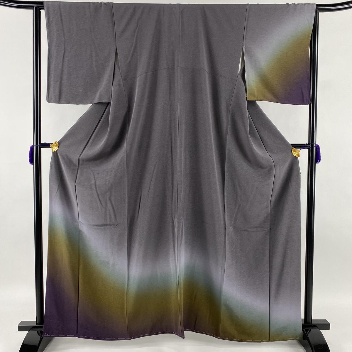 ランクS 驚きの値段 着物 リサイクル 送料無料 訪問着 国内即発送 美品 秀品 ますいわ屋 中古 M 正絹 袷 64cm 164cm ぼかし 灰紫