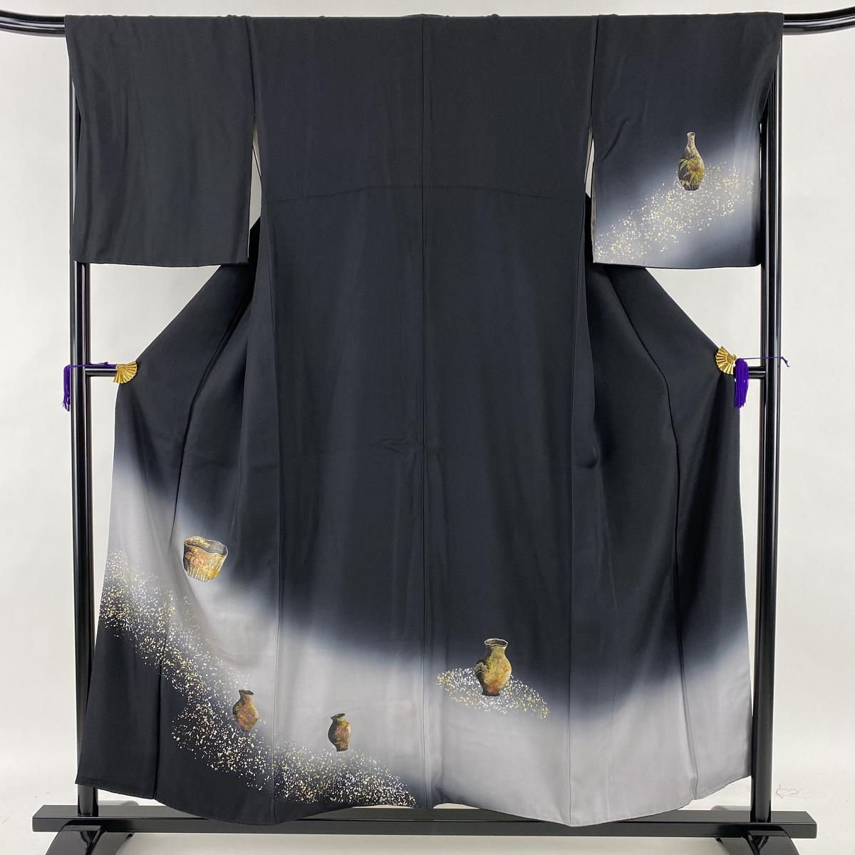 ランクA 着物 リサイクル 送料無料 訪問着 美品 秀品 器物 松 中古 まとめ買い特価 裄丈67cm 金銀彩 2020 新作 正絹 M 黒 身丈156cm 袷