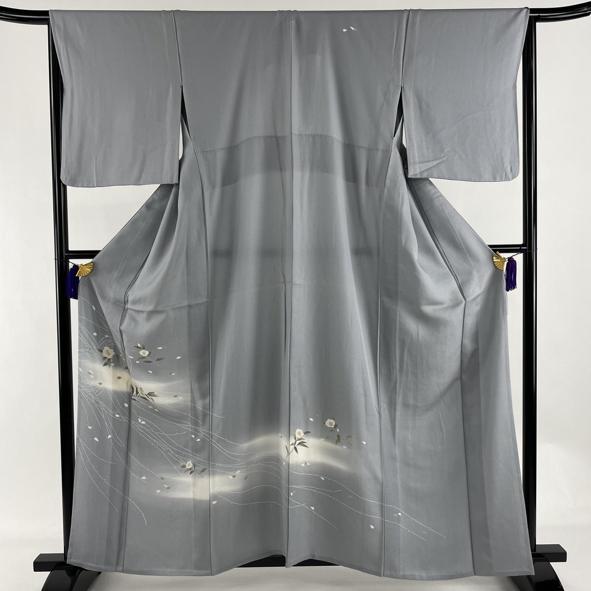 ランクA 着物 リサイクル 送料無料 訪問着 美品 秀品 一つ紋 枝花 青灰色 無料 霞 身丈160cm 単衣 中古 正絹 裄丈65cm M 正規取扱店