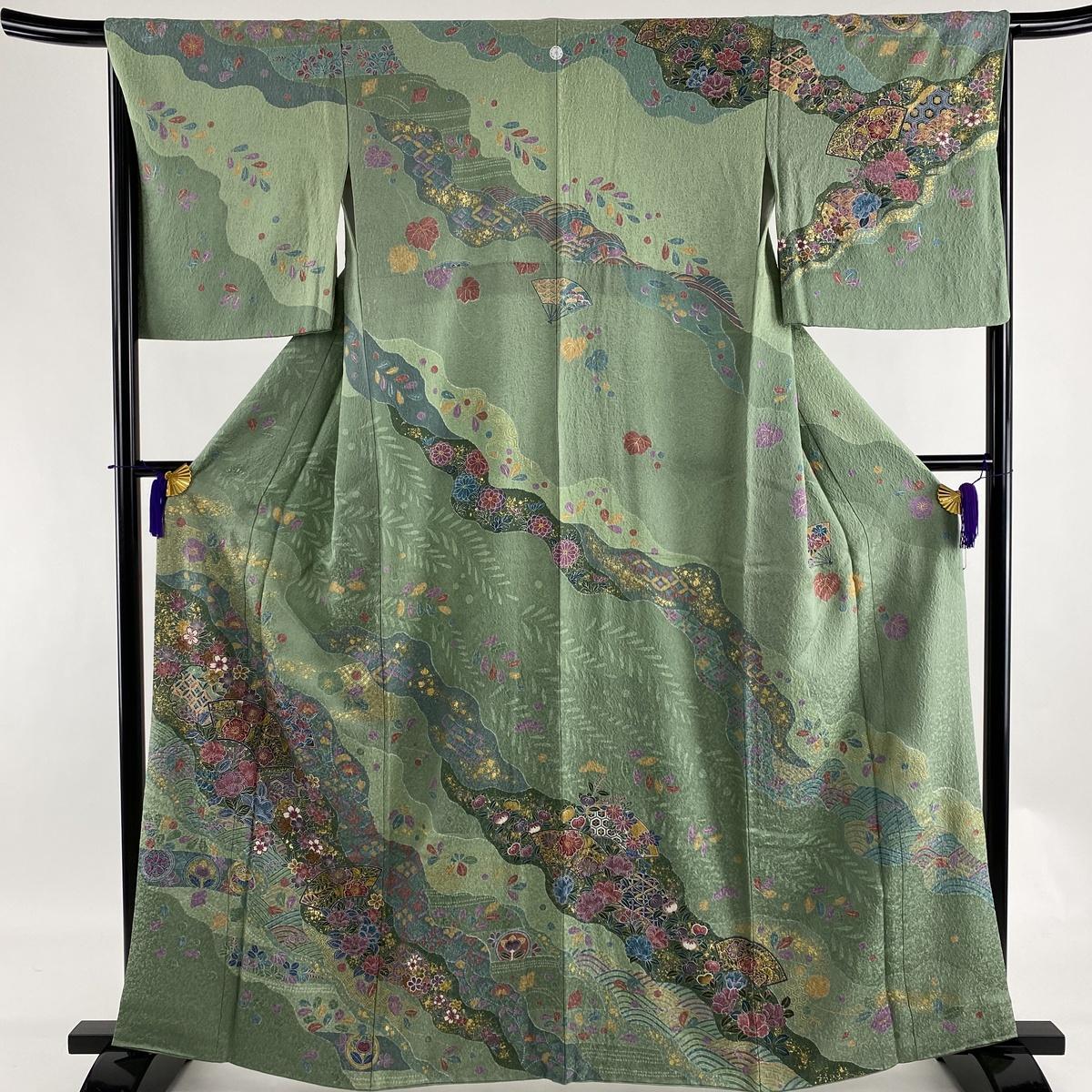 ランクA 着物 リサイクル 送料無料 訪問着 美品 秀品 一つ紋 賜物 雪輪 扇 正絹 M 中古 66cm 162cm 薄緑 袷 金彩 当店は最高な サービスを提供します