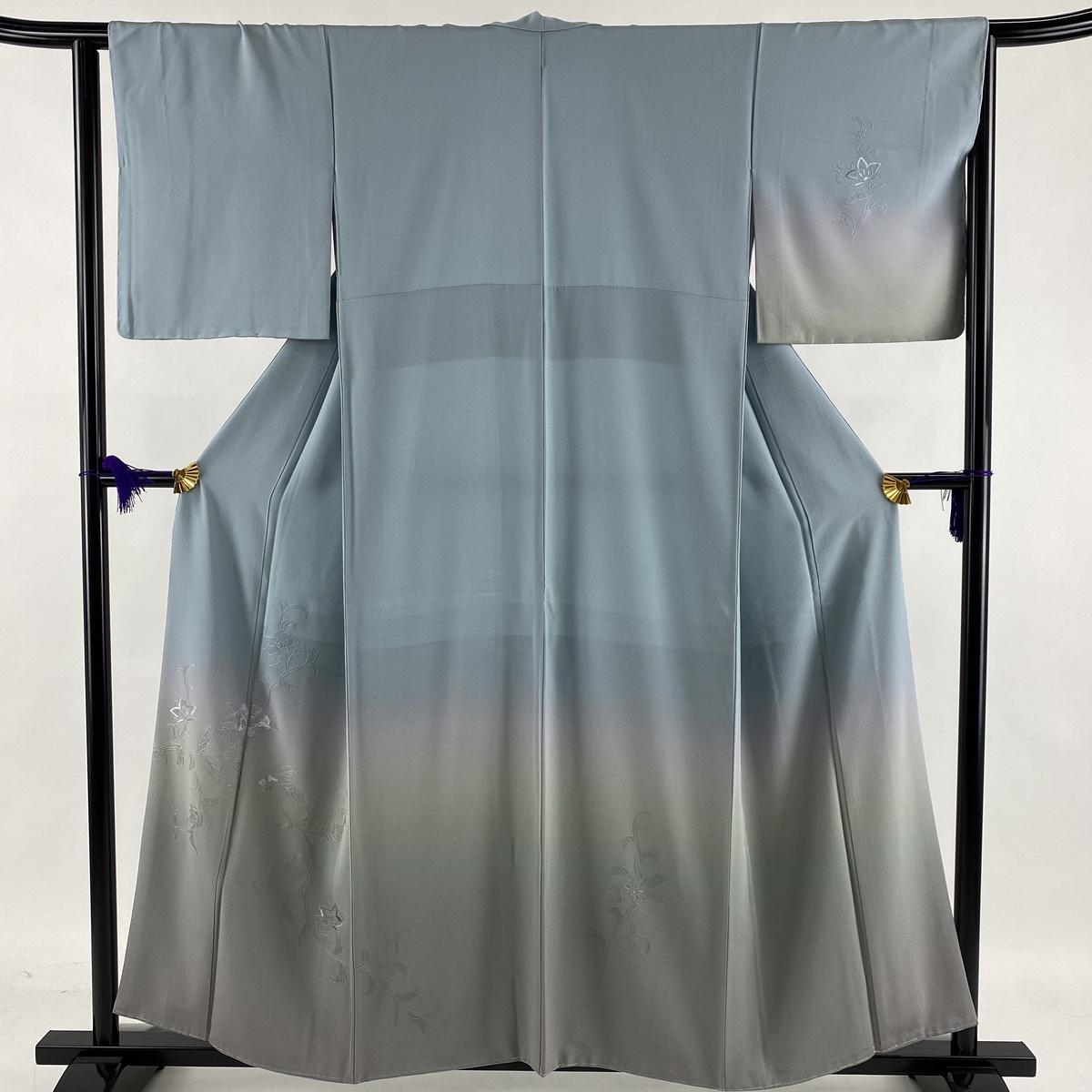 ランクS 着物 リサイクル 送料無料 訪問着 美品 秀品 草花 刺繍 中古 正絹 63cm 青灰色 S ぼかし お得 お見舞い 袷 156.5cm