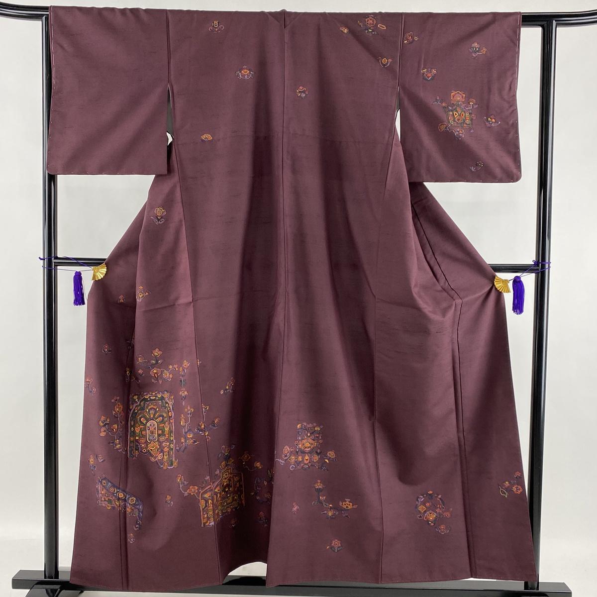 ランクS 100%品質保証! 着物 リサイクル 送料無料 訪問着 美品 秀品 紬地 草花 正絹 157cm 新品 幾何学 袷 S 中古 61.5cm 刺繍 紫