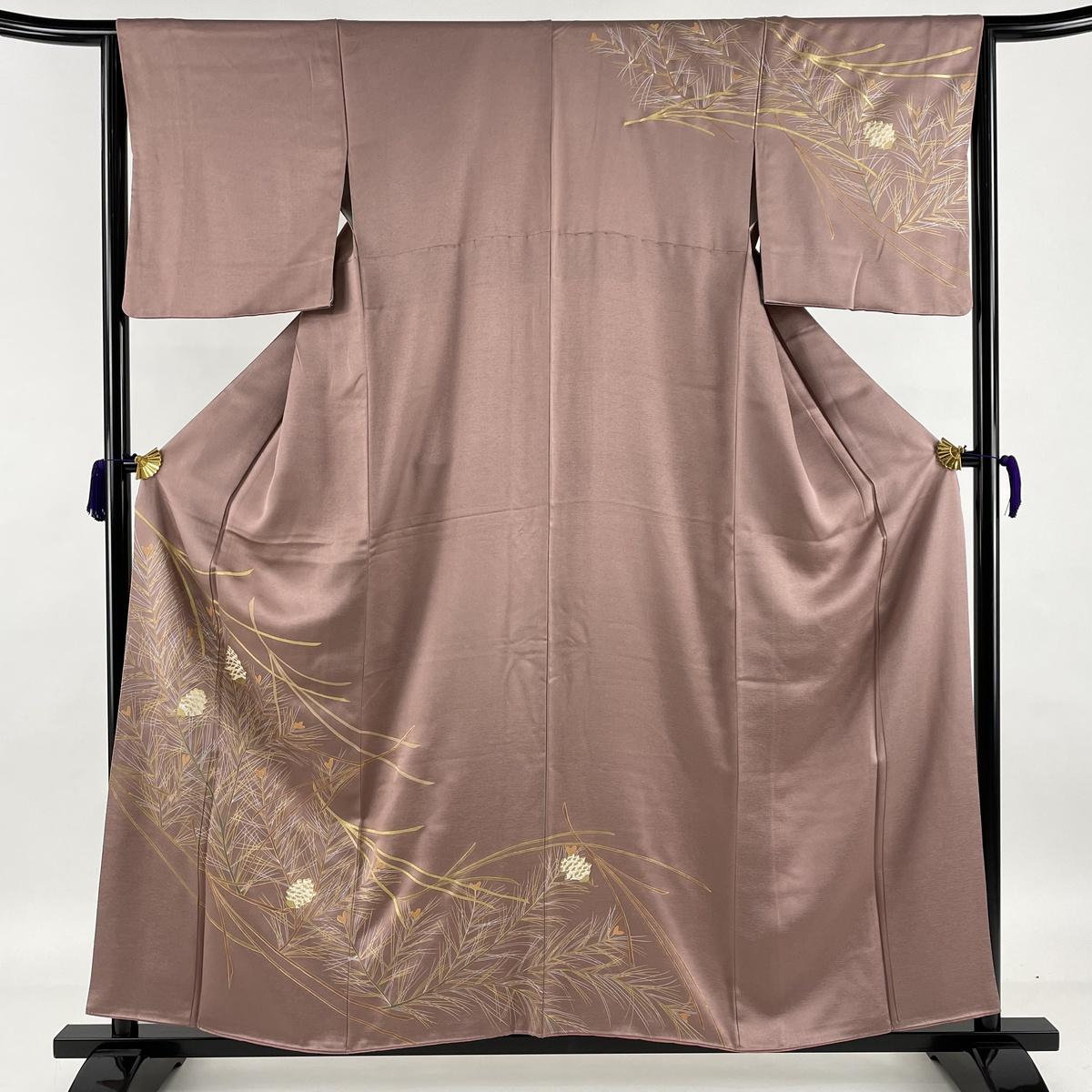 ランクA 着物 リサイクル 送料無料 訪問着 美品 秀品 若松 まつぼっくり 金彩 中古 159cm 紫 入荷予定 正絹 袷 S 63.5cm 1着でも送料無料