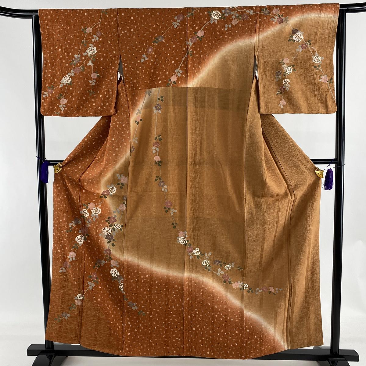 ランクA 着物 リサイクル 送料無料 訪問着 美品 秀品 かわいい 奉呈 枝花 小花 S 63.5cm 中古 2020 新作 オレンジ 金彩 159cm 正絹 染め分け 袷