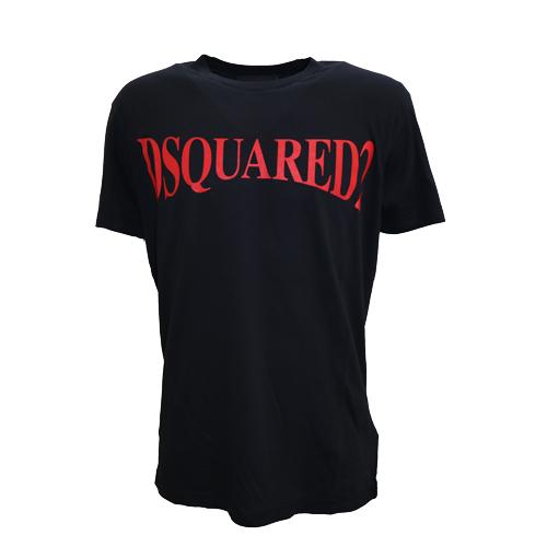 DSQUARED2 ディースクエアード D2 Tシャツ メンズ ブラック レッドロゴ 2019 2020秋冬新作
