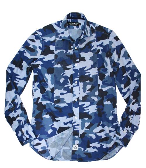 【HYDROGEN】ハイドロゲン コットンシャツ ブルーカモフラ 160419