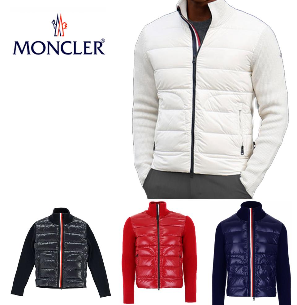 MONCLER モンクレール メンズ ダウン ダウン×ニット ジップアップジャケット d2 091 9416600 9699z ブラック ネイビー レッド